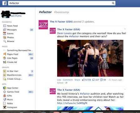 X-Factor Facebook screenshot