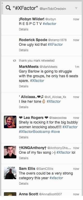 X Factor Twitter social