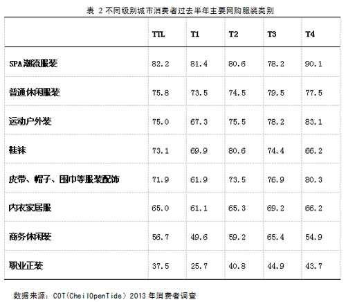 表 2不同级别城市消费者过去半年主要网购服装类别