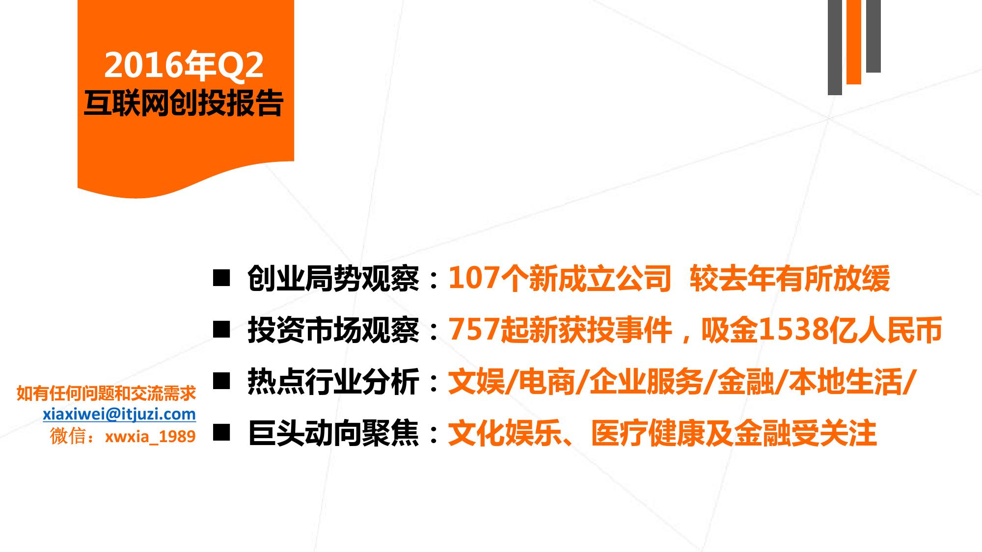 【IT桔子】2016年Q2中国互联网创业投资分析报告_000002