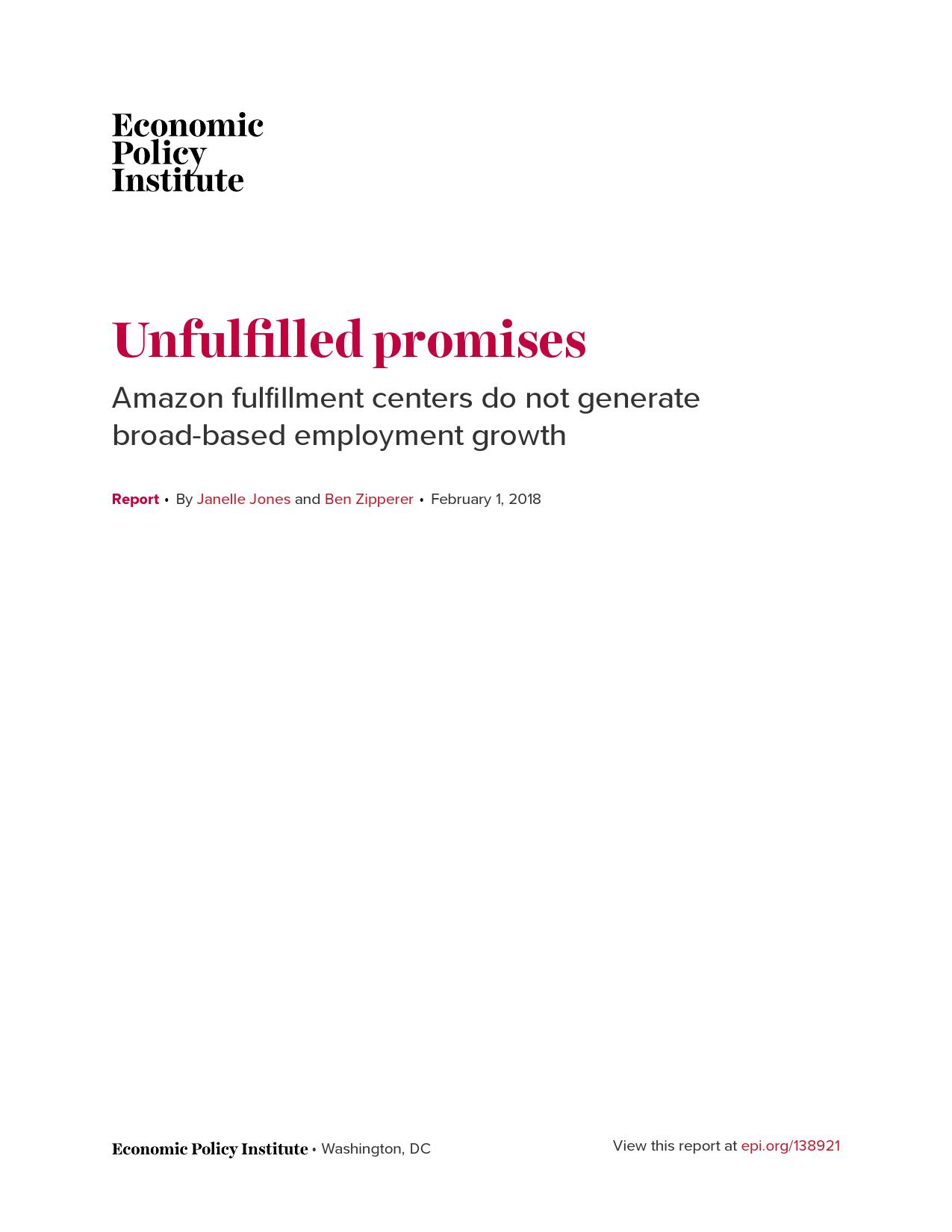 EPI:亚马逊运营中心并没有促使就业增长(附报告)