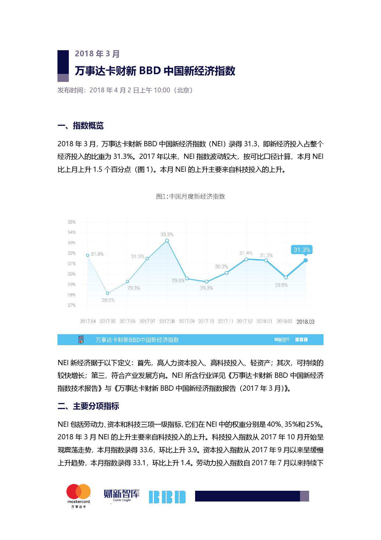 财新BBD:2018年3月中国新经济指数(附下载)