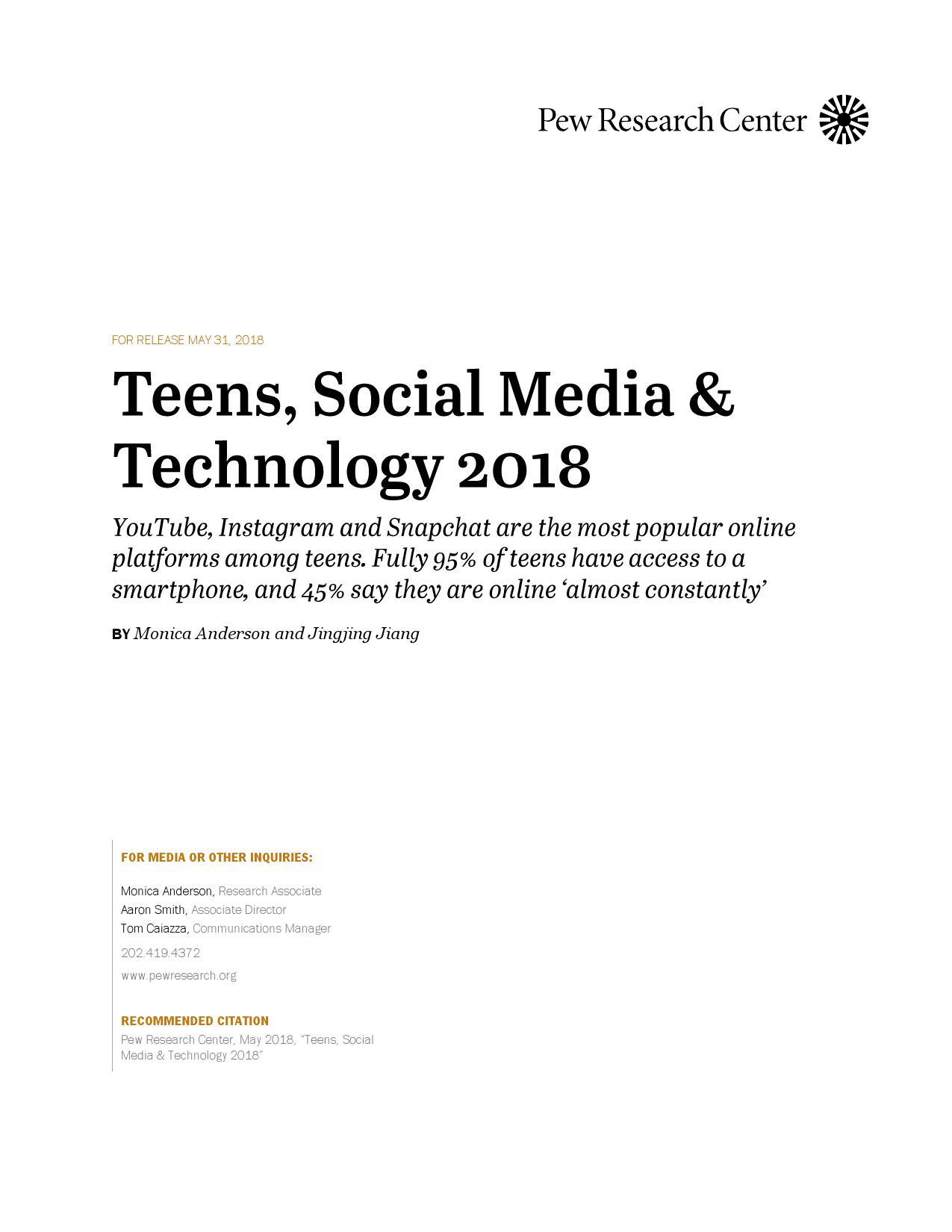 皮尤研究中心:2018年美国青少年社交媒体用户调查报告