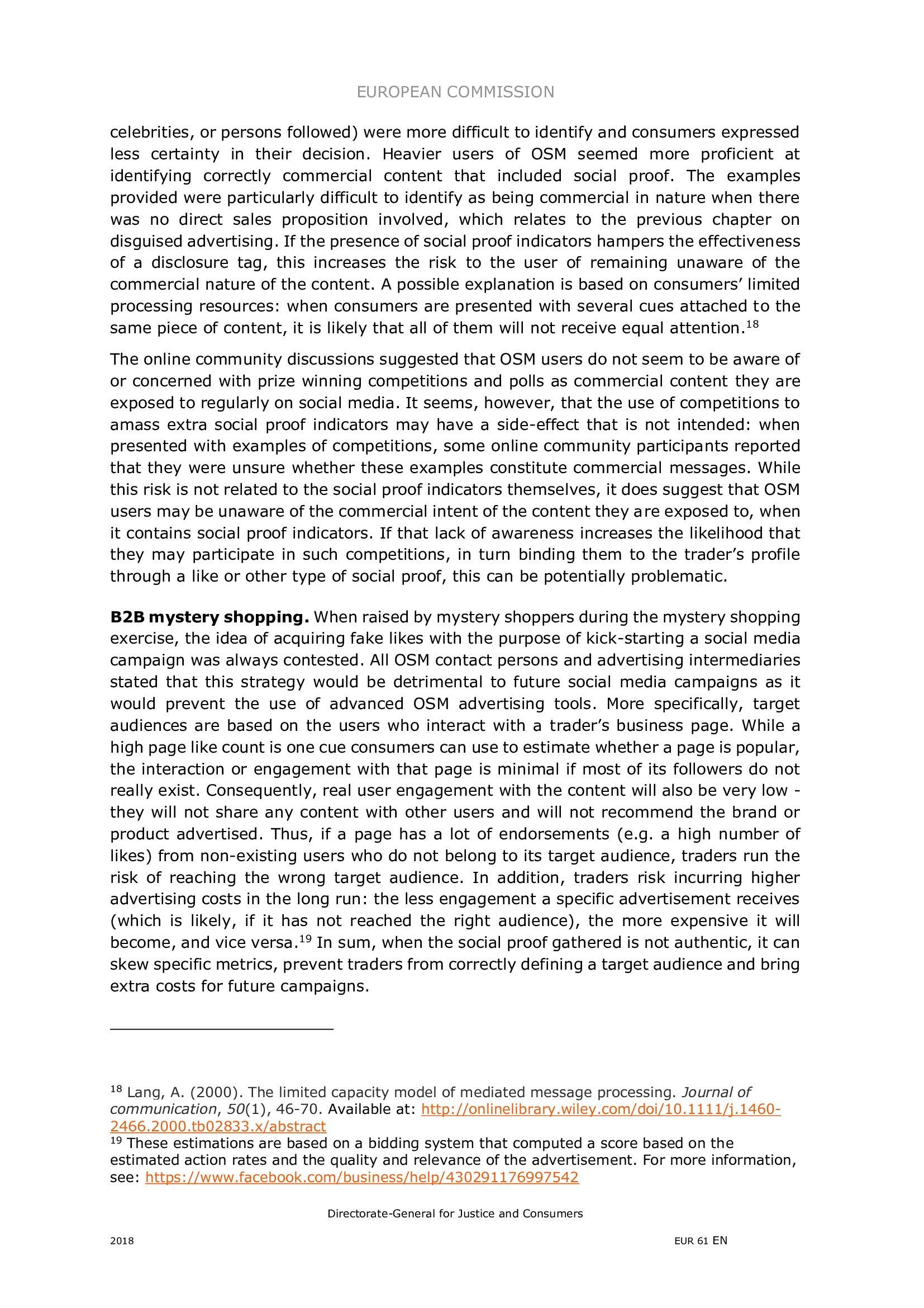欧盟委员会:2018年社交媒体广告行为调查报告