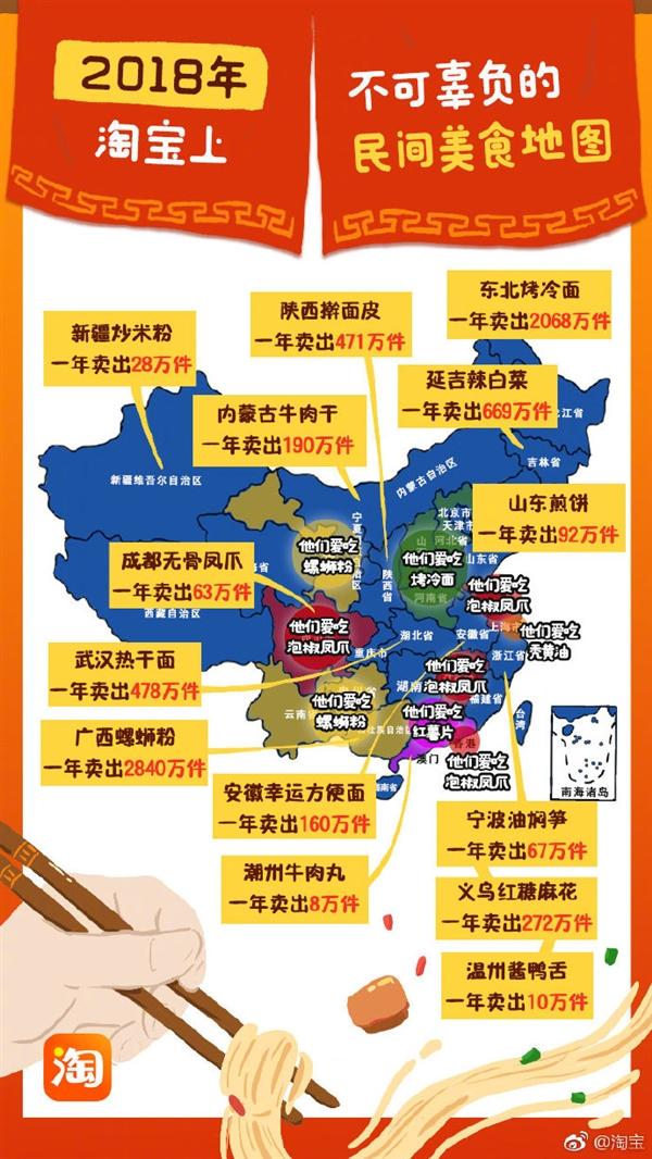 淘yuan)Γ018年中(zhong)國民間美食地圖