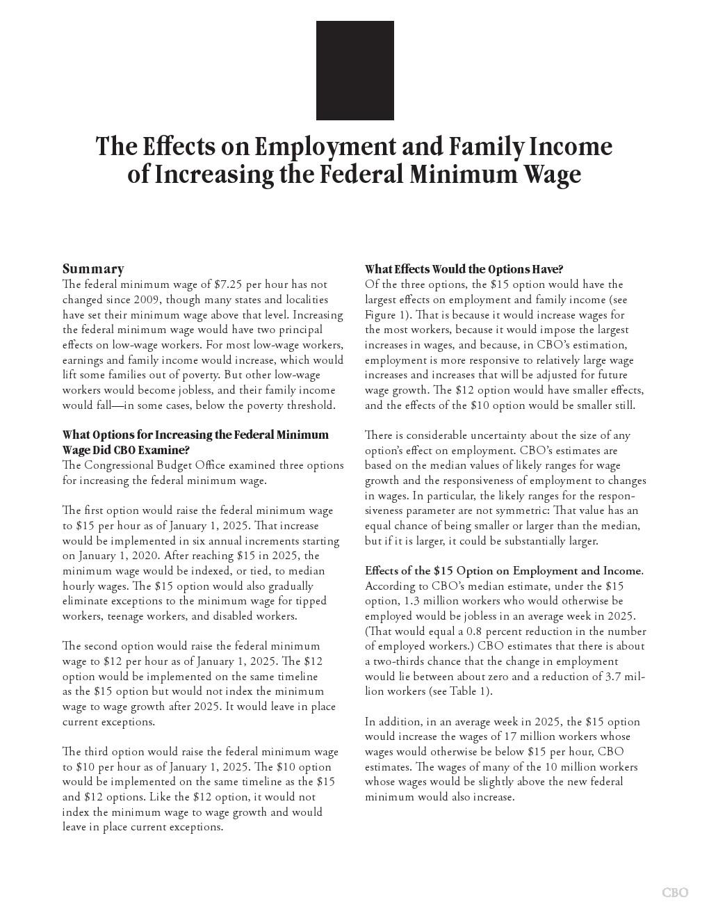 CBO:2018年美国最低工资增长调查报告