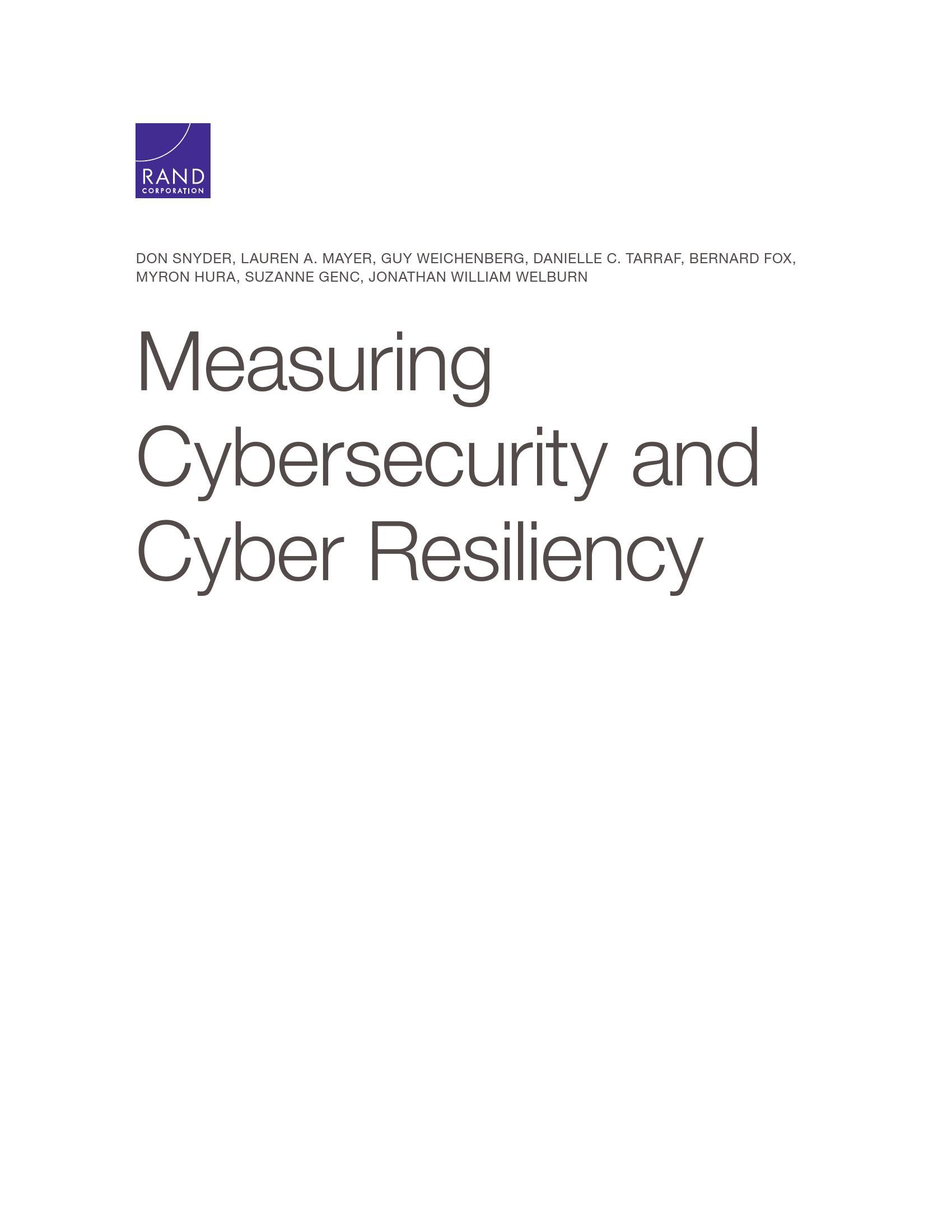兰德:衡量网络安全和网络弹性报告