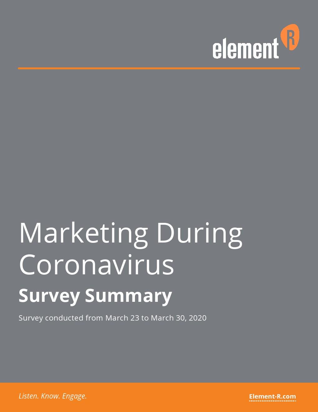 Element-R:冠状病毒期间的营销报告