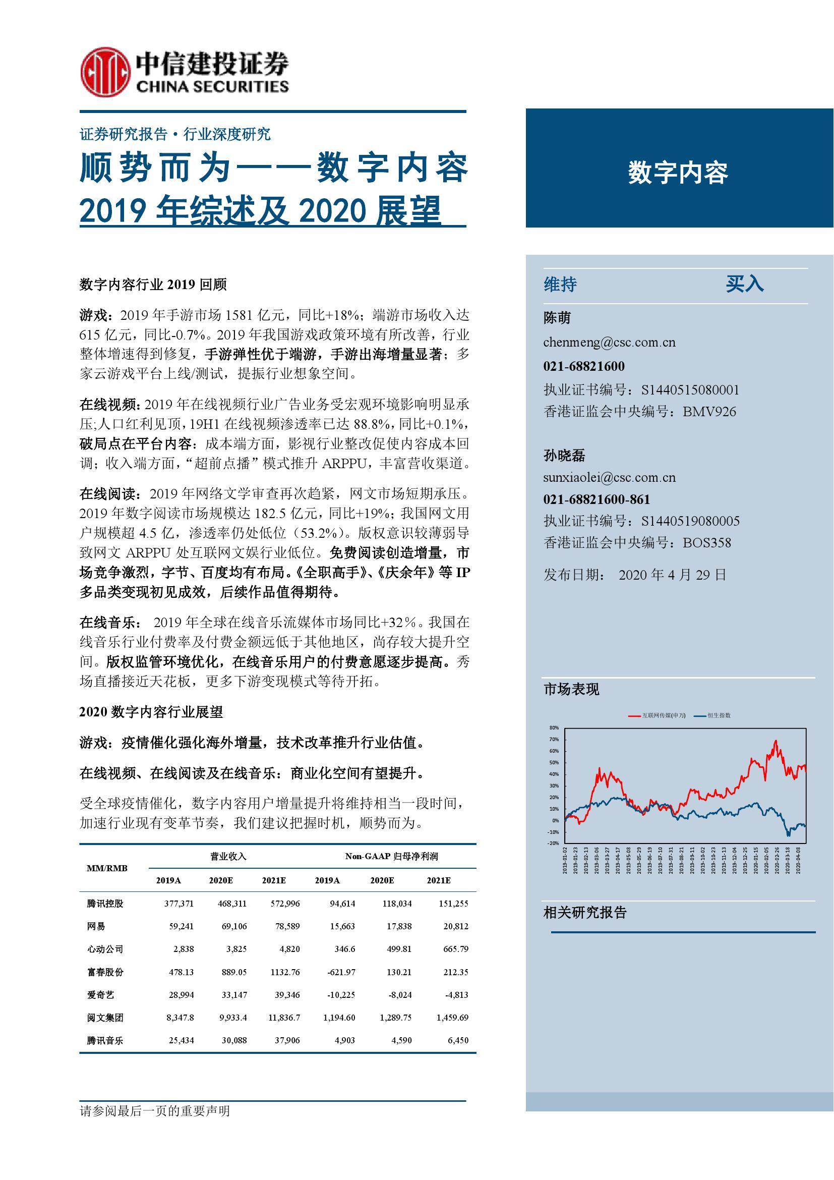 数字内容:2019年综述及2020展望(附下载)