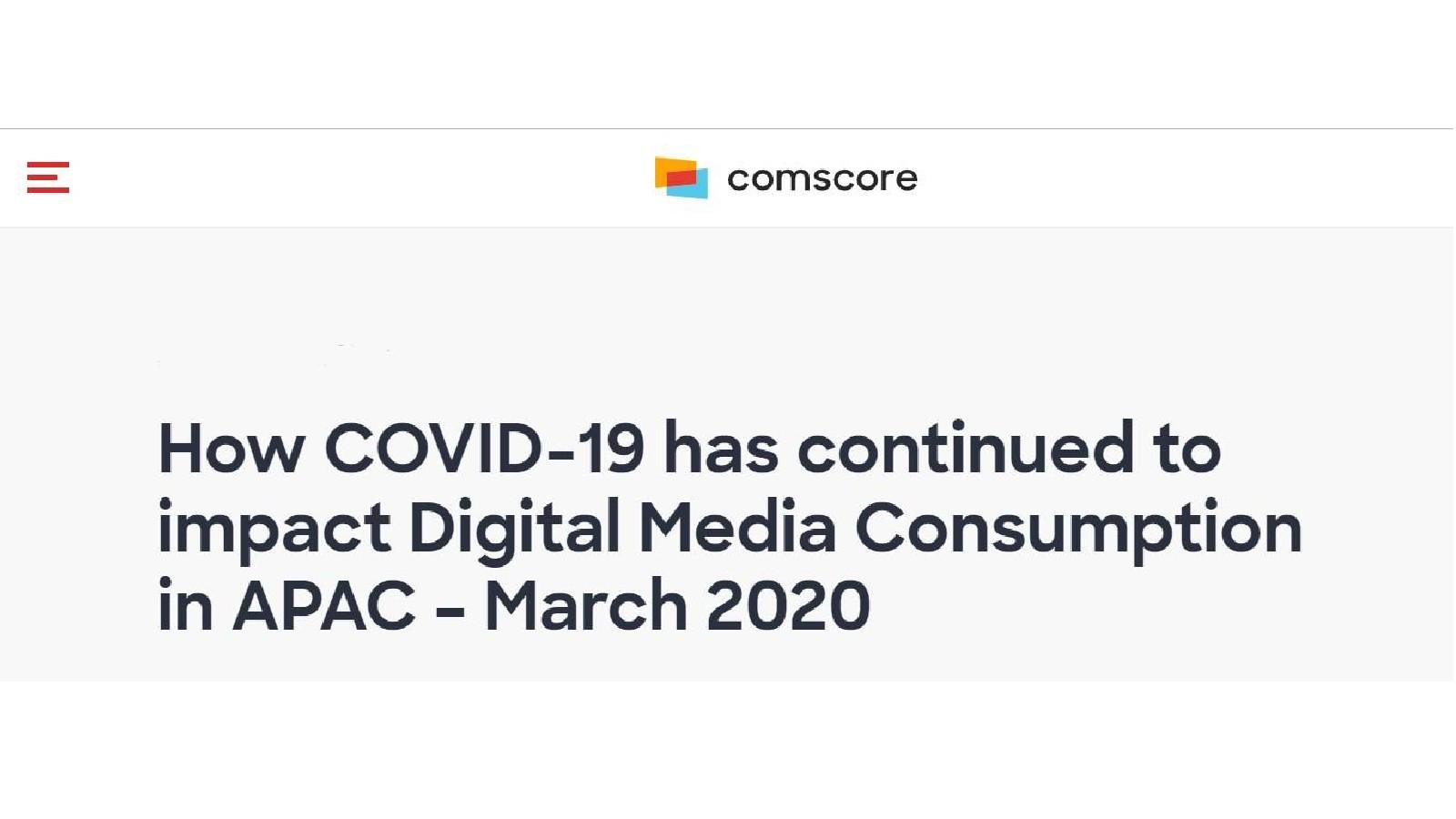 ComScore:冠状病毒对亚太地区网络媒体使用的影响
