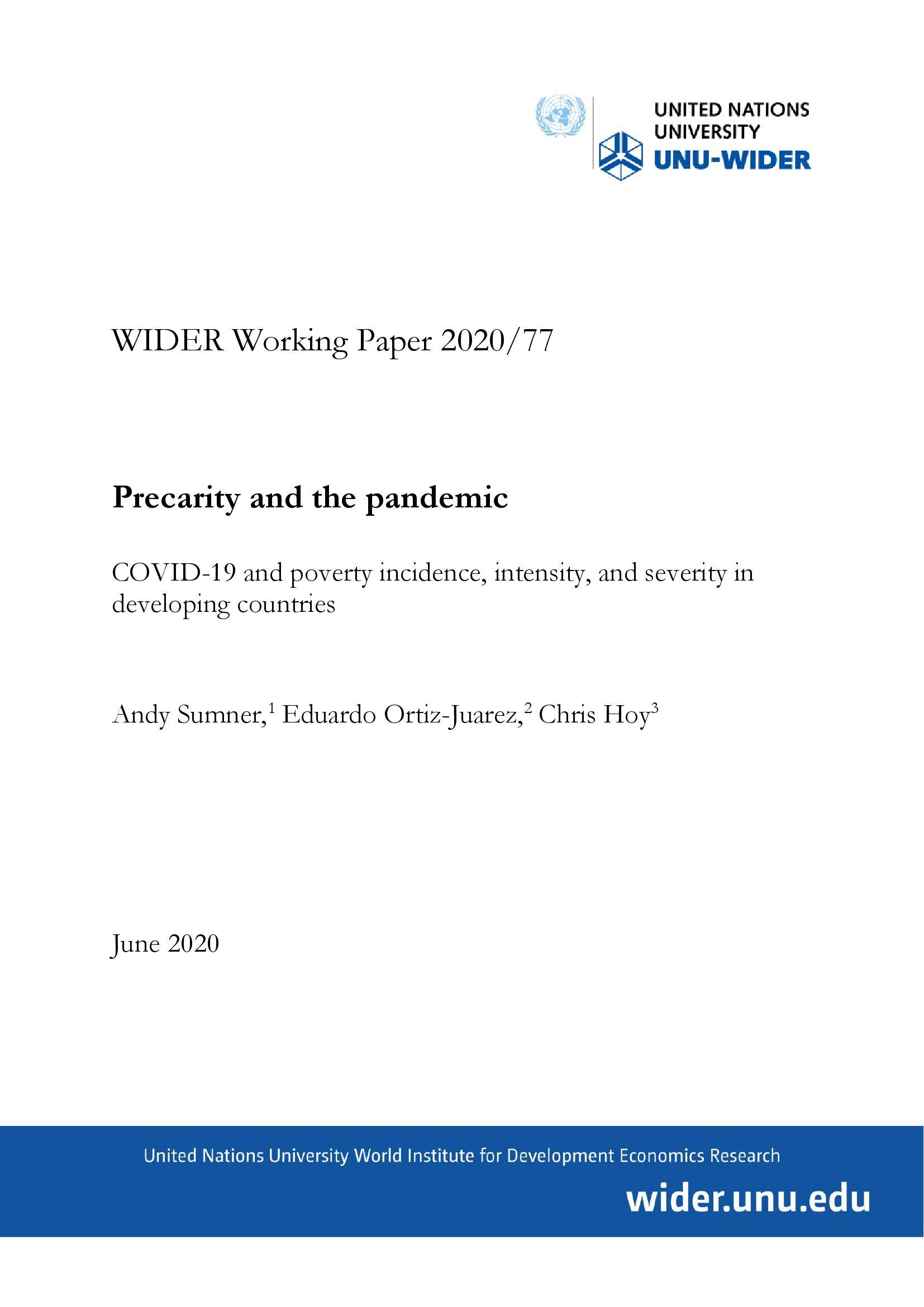 联合国报告:新冠疫情危机或使全球赤贫人口增至11亿