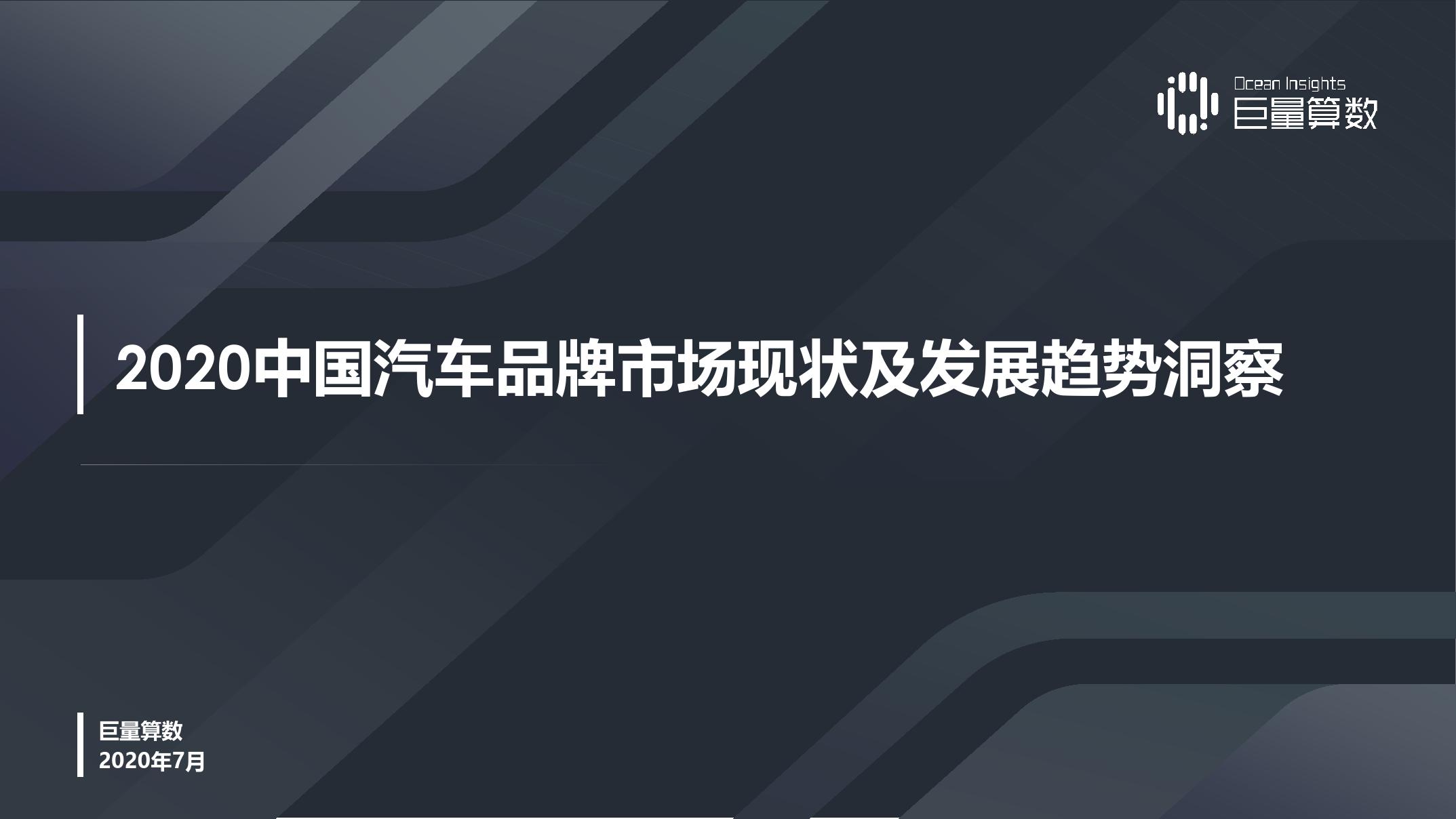 巨量引擎:2020中国汽车品牌市场现状及发展趋势洞察(附下载)